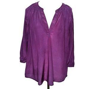 Joie sheer purple pattern 100% silk v-neck blouse